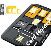 Slim SIM Card holder & MicroSD card Case Storage + Memory card reader, Holds 4 SIM Cards 1 Micro 1 Nano, 2 MicroSD memory cards and Iphone pin ♦ including 3 sim card Adapters 1 Iphone Eject Pin