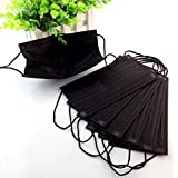 50 Packs Black Non Woven Disposable PM2.5 Face Mask Medical Dental Earloop Anti-Dust Flu Surgical Masks Four Layer Activated Carbon Filter Face Masks For Outdoor Activities(Black)