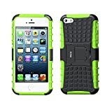 Case for iPhone 5S ,Fetrim Rugged Dual Layer Shockproof TPU Case Protective Cover for Apple iPhone 5 5S SE with Built-in Kickstand (Green)