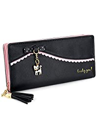 "UTO Women Long Wallet PU Leather Clutch 5.5"" Phone Case 12 Card Slots Holder Zipper Pocket Purse"