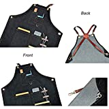 Boshiho Denim Jean Work Apron - Adjustable Bib Chef Apron Barber Apron - Utility Shop Tool Apron with Cross-back Leather Straps