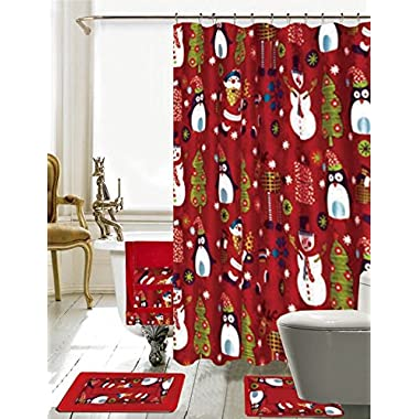 Season's Greetings 18 Piece Embroidery Bath Set 1 Bath Mat , 1 Contour Mat , 1 Shower Curtain , 12 Matching Fabric Shower Rings , 3 Piece Matching Towel Seat Small to Large (Merry Christmas)