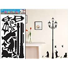 Lamp Cats Birds Background Shadow Wall Sticker Decals - Home Wall Decoration