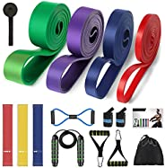Pull Up Assist Resistance Bands Set 16pcs, Workout Exercise Bands, Resistance Loops with Jump Rope, Handles, D