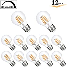 A19 Vintage Edison LED Bulb, Dimmable 8W Clear LED Bulb Filament Light , E26 Medium base 75W Incandescent Equivalent ,4000K Natural White -Great for Desk Lamp Table Lamp Overhead Lighting-12 Pack
