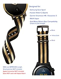 [Upgraded] Truffol 20mm 2-Piece NATO Strap for Samsung Galaxy Gear S2 Classic, Pebble Time Round, Huawei Watch 2 (Sport) - Quick Release Nylon Watch Band with PVD Steel Buckle Loop (Black & Gold)