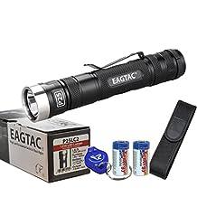 Eagletac P25LC2 1200 Lumens 230 Yards Cree XM-L2 U2 LED Flashlight w/ Premium Holster, Lanyard, 2x CR123A Tenergy Batteries & Lumen Tactical Keychain Light