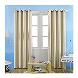 Enerhu Solid Blackout Curtain Drapes Grommet/Eyelet Top Light-proof Curtains Panels Beige S(3.28x8.20ft)