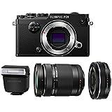 Olympus PEN-F Mirrorless Micro Four Thirds Digital Camera with Olympus M.Zuiko Digital ED 14-42mm f/3.5-5.6 EZ & 40-150mm f/4.0-5.6 R Lenses (Black)