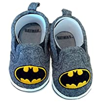Batman Boys Baby Infant Crib Shoes Slippers, DC Comics, Black/Grey/Yellow