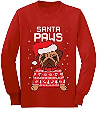 Santa Paws Pug Ugly Christmas Sweater Dog Youth Kids Long Sleeve T-Shirt