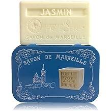 Freesens - Savon de Marseille Bar Soap, Jasmine, Metal Box, Made in France, 100gr