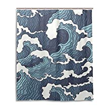 """SUABO Polyester Waterproof Fabric Shower Curtain Decorative Bathroom Curtain with 12 Hooks 60""""(w) x 72""""(h) Inch, Sea Ocean Wave Pattern"""