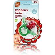 RaZbaby RaZ-Berry Silicone Teether/Multi-Texture Design/Hands Free Design/Red