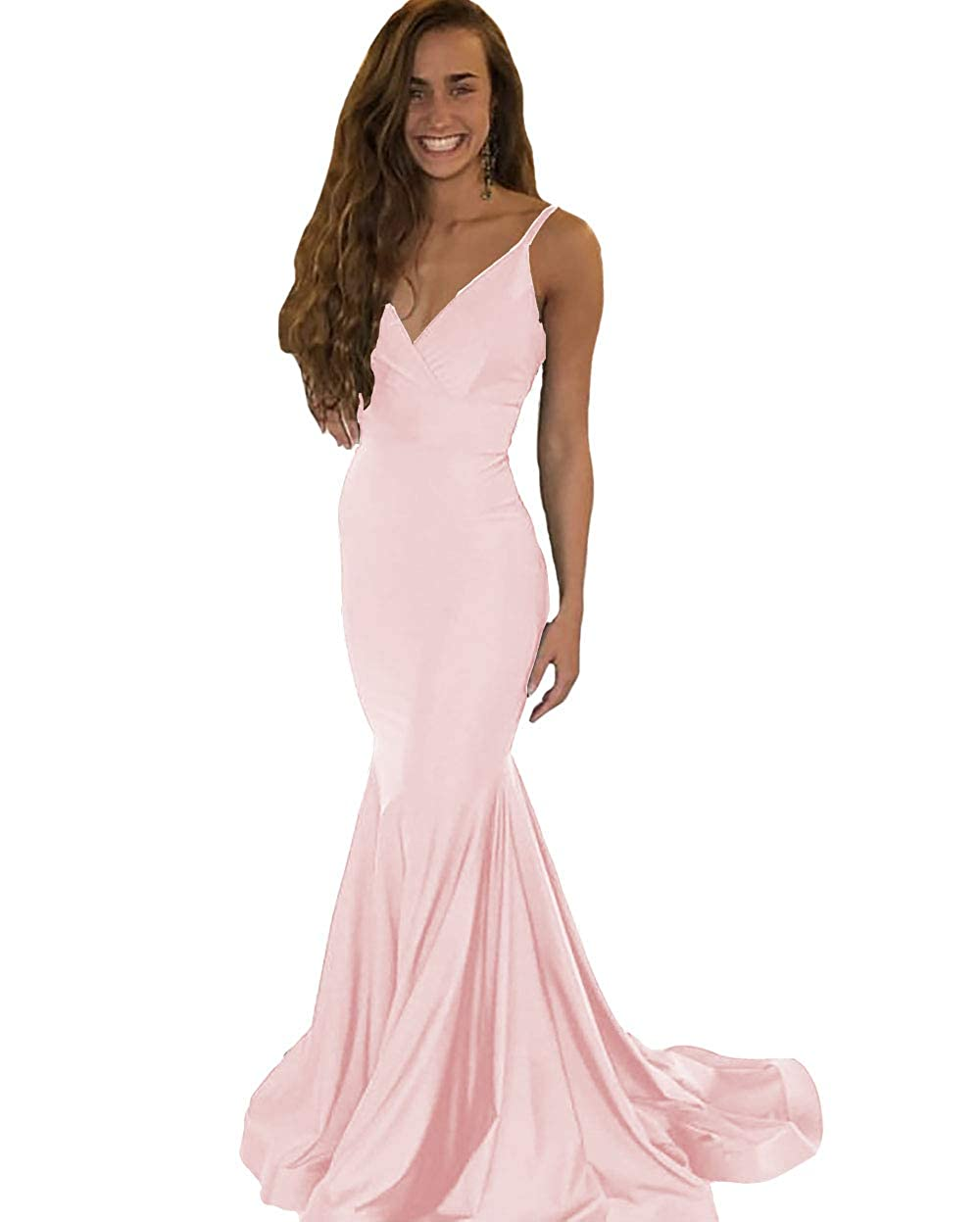 Baby Pink IVYPRECIOUS Women's V Neck Mermaid Long Backless Prom Dresses Evening Gowns