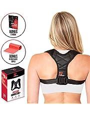 PRO PERFORMANCE+ Posture Corrector   Clavicle Support For Upper Back Neck & Shoulders   Corrects Bad Posture   Fully Adjustable Back Brace For Men & Women   Bonus Exercise Band & E-Book