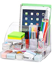 $27 » Upgraded Acrylic Desk Organizer, All in One Office Supplies Accessories with 2 Drawers for Home/Office/Makeup Desktop Organization & Decor