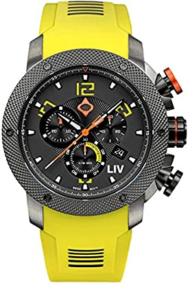 LIV GX1 Swiss Analog Display Chronograph Casual Watch for Men; 45 mm Stainless Steel with Date Calendar; 1000 feet Waterproof - Venom Yellow