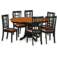 East West Furniture KENI7-BCH-LC 7 Piece Dining Table and 6 Wooden Kitchen Chairs Set