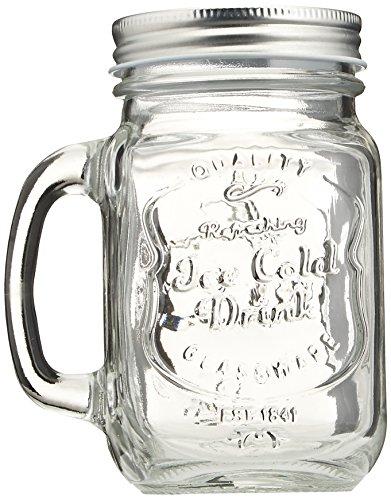 Estilo Mason Jar Mugs with Handles Old Fashioned Drinking Glass 16 oz, Clear