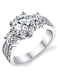 "1.50 Carat Round Cubic Zirconia"" Past, Present, Future"" Sterling Silver 925 Wedding Engagement Ring"