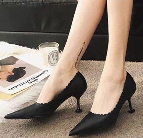 MDRW-Lady Elegant Arbeit Arbeit Arbeit Freizeit Feder Single Mode Schuhe Fein Hacken 7 cm High Heels Scharfe Flache Schwarze Schuhe Schuhe Schuhe 4b6487