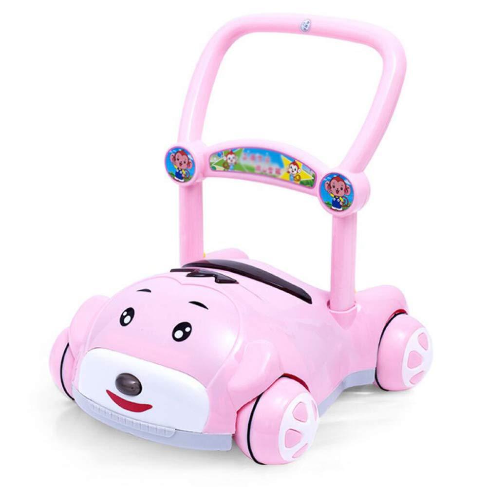 ZHAOHUIFANG Carretilla, Bebé Andador Bebé Mano Empuje Walker Juguete Anti-Rollover 6-18 Meses,Pink