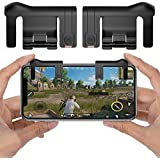 PUBG Mobile Game Controller, YSSHUI Joystick Smart Phone Tablet Gaming Trigger [Upgrade Version] for PUBG/Fortnite/Rules of Survival, Cell Phone Gaming Joysticks for Android IOS(1 Pair)-Black
