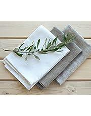 Varvara Home 1334-3-pak linnen theedoeken - linnen handdoeken - theedoeken - keukendoeken - grootte 45/50 x 70 cm - kleur wit/natuur/licht natuur
