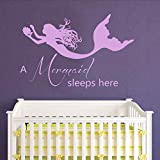 "BATTOO Wall Decal Quote A Mermaid Sleeps Here - Mermaid Stickers Vinyl Decals Art Mural Home Bedroom Decor Interior Design Nursery D¨¦cor(hydrangea purple, 37""h x56""w)"
