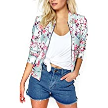 ECOLIVZIT Clearance Women's Floral Bomber Jacket Lightweight Zip-Up Coat Biker Jackets by
