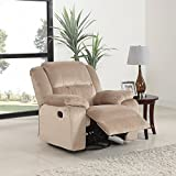 Oversize Brush Microfiber Rocker and Swivel Recliner Living Room Chair (Beige)