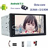 7 Android 7.1 Headunit Car Radio Receiver no DVD Player on-Board Computer Double Din GPS Navigation in Dash Support Bluetooth/OBD2/1080P+Free Backup Camera