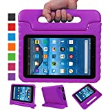 Fire 7 2015 Case,Fire 7 2017 Case,Grand Sky Super Light Weight Shock Proof Handle Protective Stand Kids Case for Fire 7 inch Display Tablet (5th Gen-2015 Release & 7th Gen-2017 Release) (Purple)