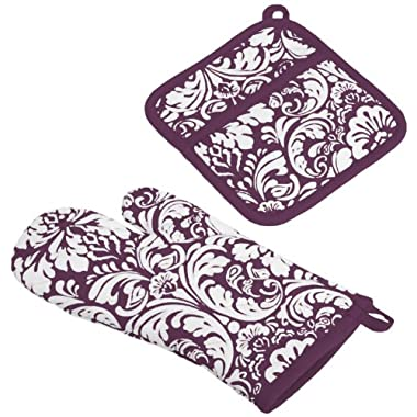 DII 100% Cotton, Machine Washable, Everyday Kitchen Basic, Damask Printed Oven Mitt and Potholder Gift Set, Eggplant
