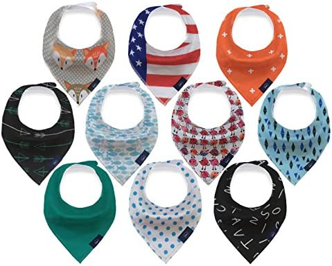 [Sponsored] New Born Bibs for Drooling and Food - Baby Bandana Set - Organic Cotton Fashionable Bibs for Babies - 10-Pack Unisex Bandanas for New Born Children - Protects Clothes against Drooling and Food