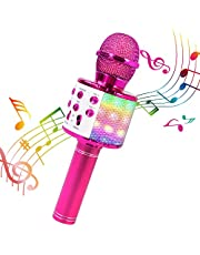 BlueFire Wireless 4 in 1 Bluetooth Karaoke Microphone with LED Lights, Portable Microphone for Kids, Best Gifts Toys for 4 6 8 10 12 Year Old Girls Boys