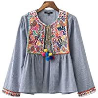 Lingswallow Women's Vintage Blue Loose Tribal Floral Embroidered Stripe Blouses