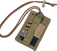 OneTigris Tactical ID Card Holder Hook & Loop Patch Badge Holder Neck Lanyard Key Ring and Credit Card Org