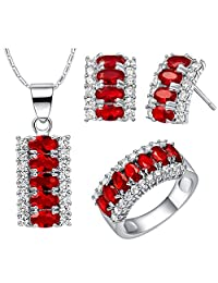18k White Gold Austrian Crystals and Cubic Zirconia Ring Necklace Earrings Jewelry Set