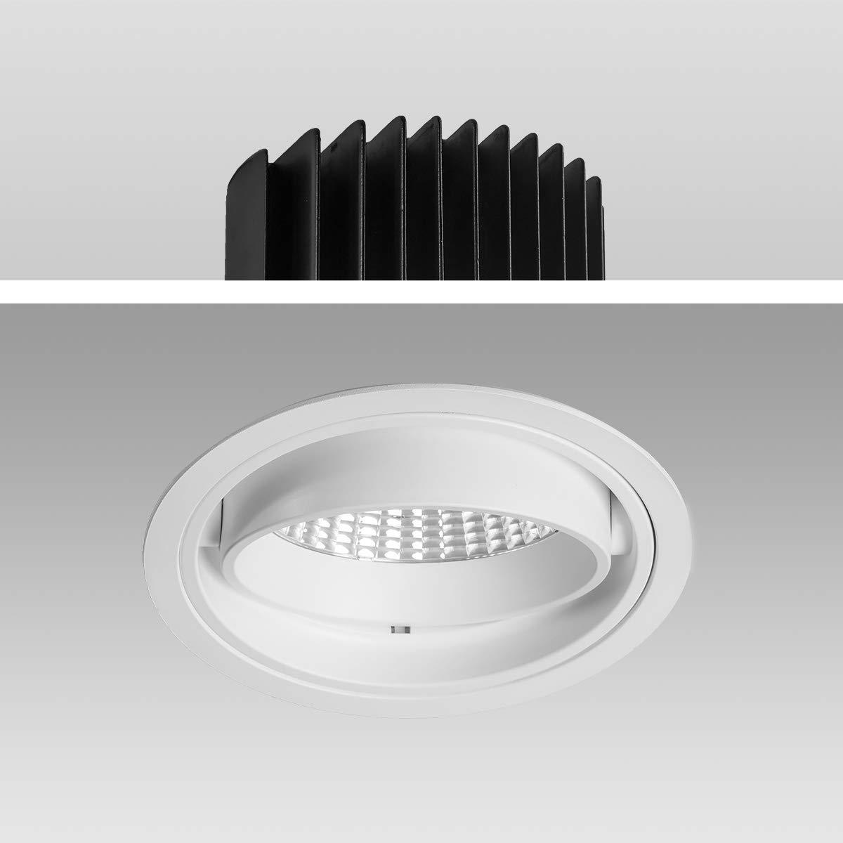 Mextronic Decke High Voltage LED Einbaustrahler Genius 50W 840 Neutralweiß S6081 Ø 170mm