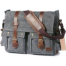 "Lifewit 15.6""-17.3"" Men's Messenger Bag Vintage Canvas Leather Military Shoulder Laptop Bags"