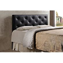 Baxton Studio Baltimore Faux Leather Upholstered Headboard, King, Black