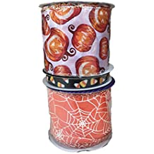 Spooky Pumpkins Candy Corn and Spider Webs Bundle of Three Halloween Themed Ribbons