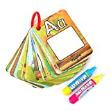 Water Painting Cards Children Drawing Board Kids Colouring Card Alphabet Number Word Doodle Board Painting Book Early Education Cognitive Cards with Magic Drawing Pens(Letter Type)