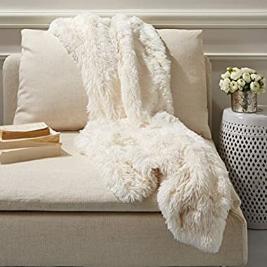 Two's Company Tozai Home White Fox Faux Fur Throw