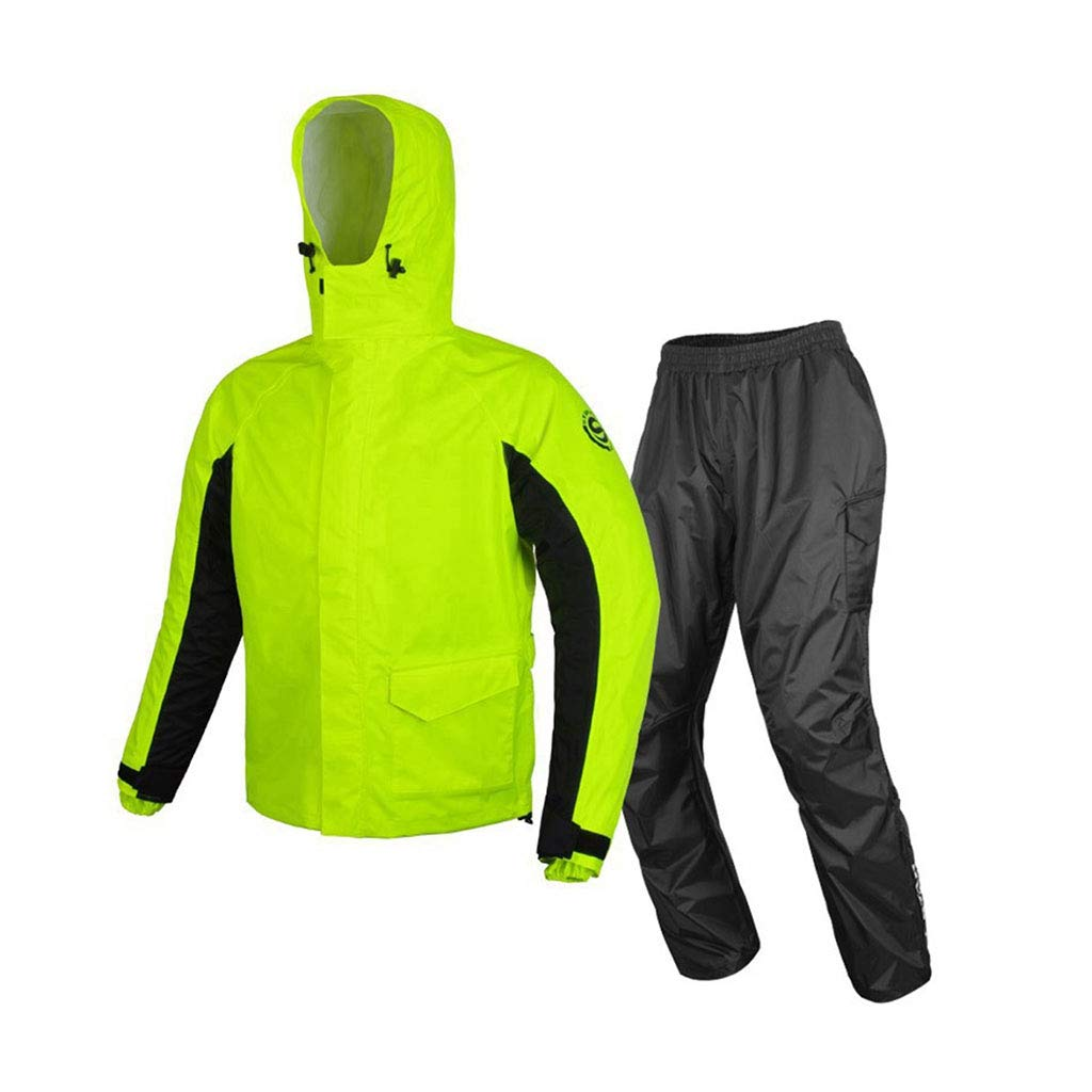 LYP-Rainwear Regenmantel Anzug Herren Regenmantel Split-Typ wiederverwendbar (Regenmantel Regenhose) Reflektierende Belüftung Erwachsene Kapuze Outdoor-Motorradgolf-Angelwanderung