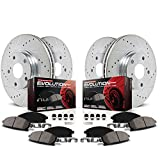 Power Stop K840 Front/Rear Ceramic Brake Pad and Cross Drilled/Slotted Combo Rotor One-Click Brake Kit
