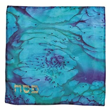 Silk Painted Square Matzah Cover in Blue Shades