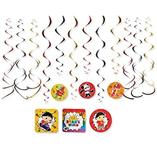 American Greetings Ryan's World Party Supplies, Hanging Swirl Decorations (12-Count)